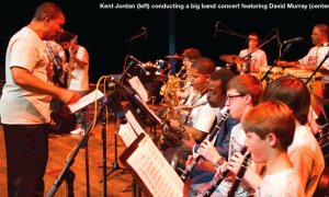 Kent Jordan conducts summer camp students